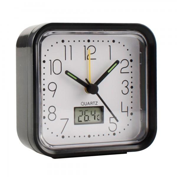 Reloj analogico alarma  82x82x38 negro