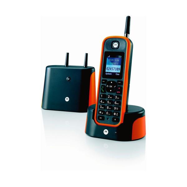 Motorola o201 naranja teléfono inalámbrico resistente de largo alcance
